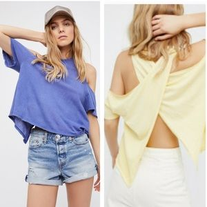 NWT Free People Cold Shoulder Cross Back Top